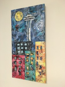 Fell in love with this mixed media collage on a trip to see my younger daughter